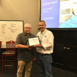 Chad Black received the Gold Star Award for having the most Google Reviews.